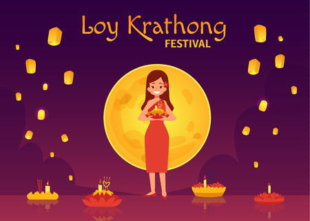 Thailand Loy Krathong Festival and Yee Peng Festival. Cartoon woman in dress on a background of the full moon puts candles on floral floats in the river, flying sky lanterns. Vector illustration.