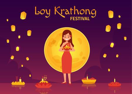 Thailand Loy Krathong Festival und Yee Peng Festival. Cartoon-Frau im Kleid auf dem Hintergrund des Vollmonds setzt Kerzen auf Blumenschwimmer im Fluss und fliegt Himmelslaternen. Vektor-Illustration.