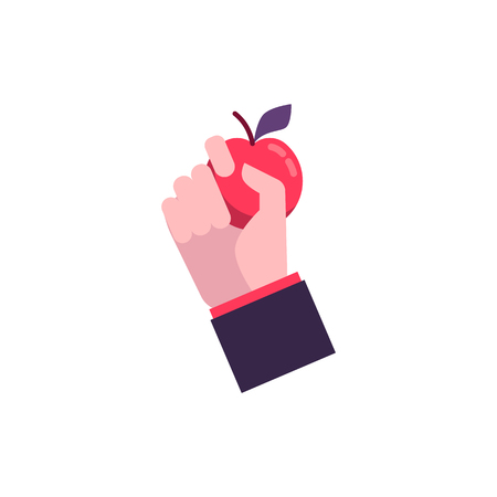 Hand in flat style holds a red fresh apple. Organic eco element, food, fruit. Metaphor of barter and exchange, isolated vector illustration on white background. Archivio Fotografico - 124419671