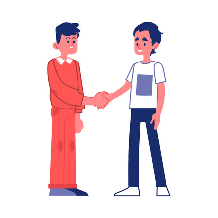 Vector two young men handshaking with smile at face. Business partners in unformal outfit or friends greeting each other. Two male students reached an agreement. Successful collaboration, teamwork Illusztráció
