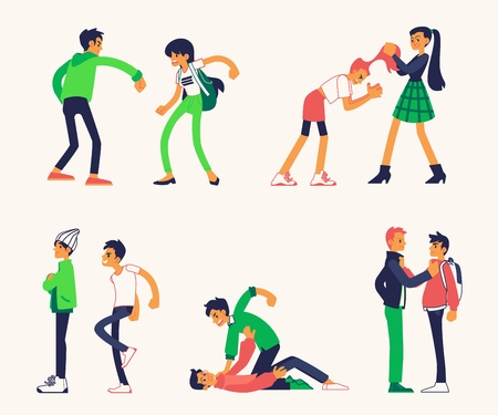 Vector violence, bulling and physical conflicts of teen male, female students, characters including using fists to punch, pulling each other hair out, kicking person while his down.