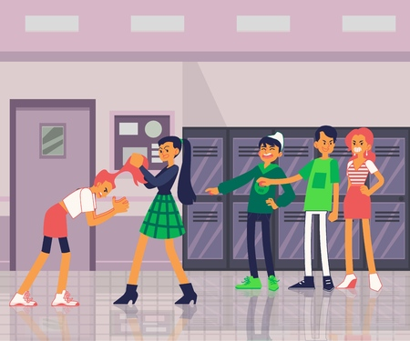 Vector violence and bulling at school concept with teen girls students fighting pulling each others hair out, other teens watching. Female violence in school illustration Vectores