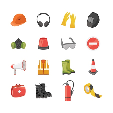 Icons set of safety equipment for work and protective clothing in flat cartoon style. Industrial security set with gloves and maskes, helmet, glasses and respirator, isolated vector illustrations. Ilustração