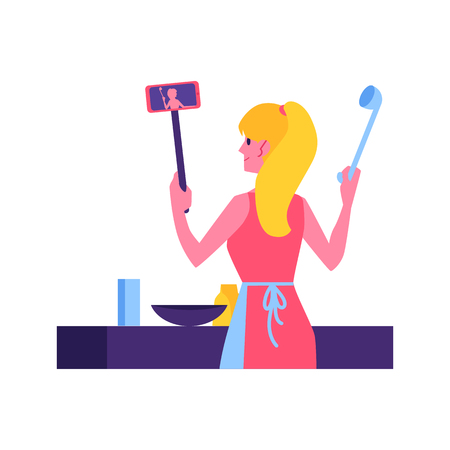 Vector cute woman in apron cooking in kitchen making video tutorial on selfie stick with smartphone. Video blogger produce cook and food content. Dish vlogs youtuber girl concept.