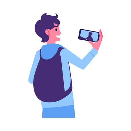 Vector young cheerful man with backpack making selfie photo or video using smarphone camera. Smiling student making photography by modern device. Isolated illustration
