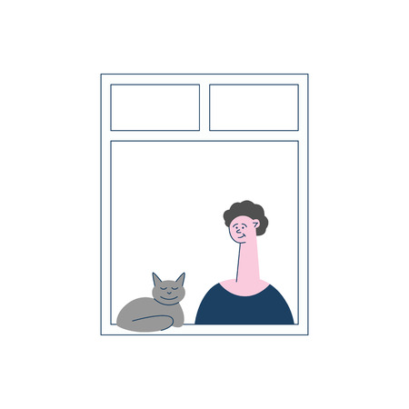 Vector female neighbour character at her windows smiling near grey cat. Flat happy young woman at her appartments window with lovely feline animal. Isolated illustration Ilustracja