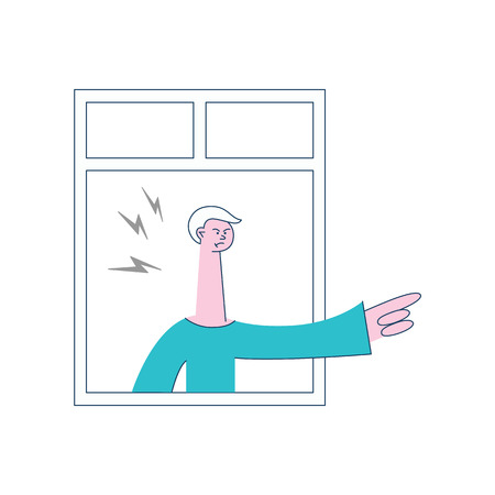 Vector angry young man with irritated facial expression pointing out looking out of the window with lightings around head. Male unhappy character and threatening gesture. Frustrated neighbour Иллюстрация