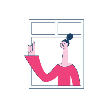 Vector angry young woman with irritated facial expression looking out of the window. Female unhappy character and threatening gesture. Frustrated neighbour illustration Illustration