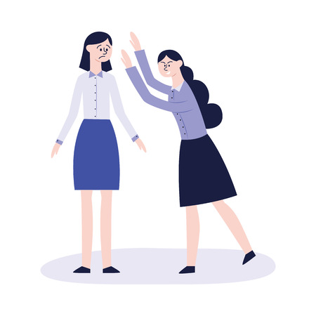 Vector concept of bullying and teenage harassment. Lonely teen girl victim with sad afraid face near violent girl intimidating and threatening her. School, college violance.