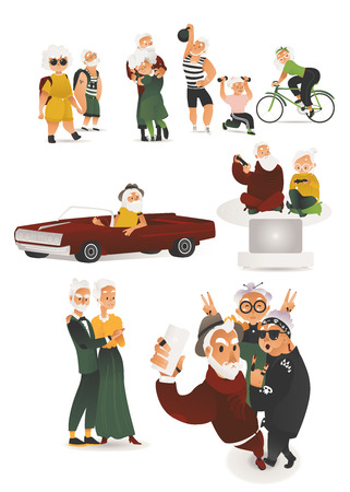 Vector stylish elderly couples having fun set. People making selfie by smartphone, dancing at party, travelling, doing sport, riding retro car. Grey-haired men, women hanging out playing video games