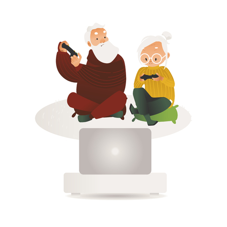 Vector elderly couple having fun playing video game holding joysticks. Happy senior man, woman hanging out with modern entertainment gadget. Grey-haired people gamers.