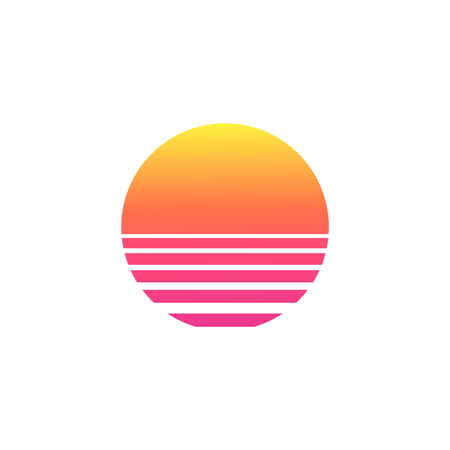 Isolated sunset gradient on white background. Vector illustration of sun in retro 80s and 90s style. Çizim