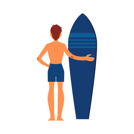 Surfer man standing with surfboard. Surfer guy character in cartoon style with surfboard, isolated vector illustration on white background. Иллюстрация