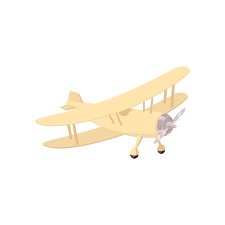 Vector vintage airplane biplane with t propeller sketch icon. Old aviation transportation with screw engine motor. Retro aircraft, jet symbol of adventure and travelling. Isolated illustration.