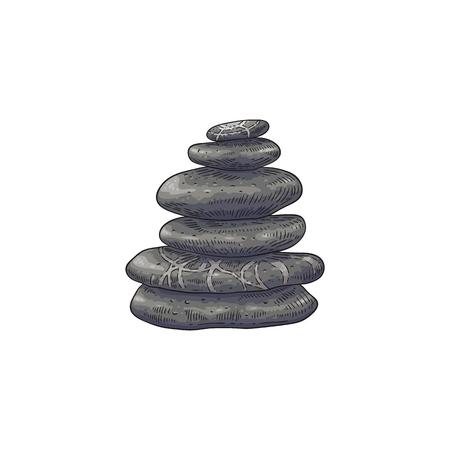 Pierres de spa en illustration vectorielle de pile dans le style de croquis - cailloux empilés dessinés à la main isolés sur fond blanc. Morceaux de roche lisses - symbole oriental traditionnel de bien-être et d'équilibre.