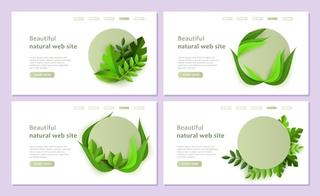 Vector abstrac floral background banners set. Green leaves website templates set. Natural backdrop for bio, ecology, environment protection or botanical design.