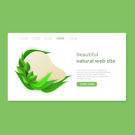 Beautiful eco and bio natural web site template in paper style with shape, vector illustration. Illustration