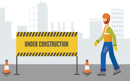 Caucasian man and worker in overalls and a helmet with a beard goes to the fence with a sign under construction. Industrial security in the city in f flat cartoon style, vector illustration.