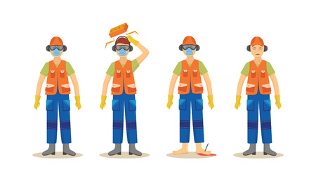 A set of accidents with a worker in an orange uniform in construction, wearing a helmet and respirator, boots and headphones and goggles. Industrial safety isolated vector illustration. Stock Illustratie