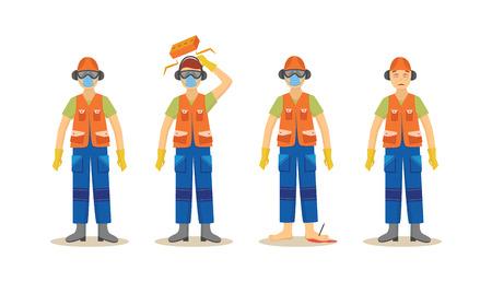 Una serie di incidenti con un lavoratore in uniforme arancione in costruzione, che indossa un casco e un respiratore, stivali, cuffie e occhiali. Illustrazione vettoriale isolata di sicurezza industriale.
