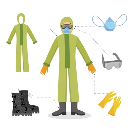 A man and a worker in chemical protective clothing with gloves, goggles, masks and boots. Isolated vector illustration in flat cartoon style.