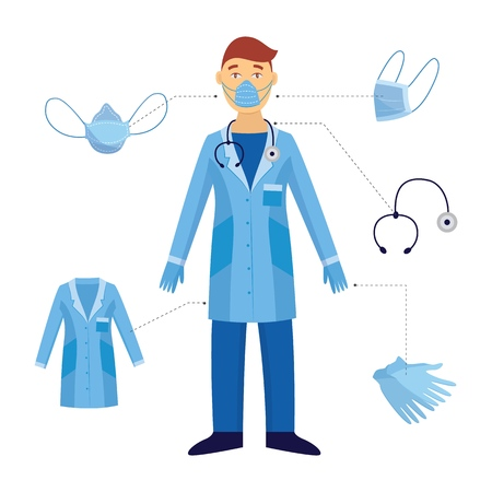A man and a doctor and his medical safety equipment. Industrial safety and protection with a mask and stethoscope, gloves in a blue doctor form against biological hazards. Vector flat illustration. Ilustracja