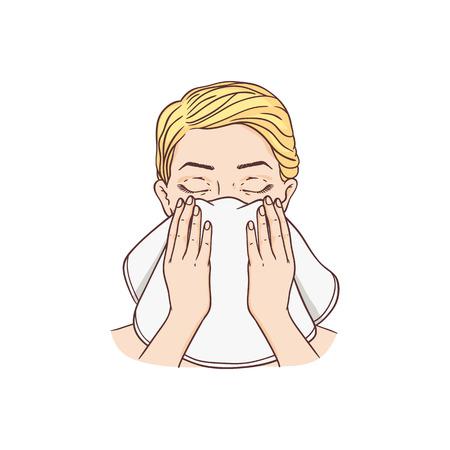 Vector junge Frau Make-up waschendes Gesicht durch Handtuch entfernen. Gesichtspflege, kosmetische Reinigung, Verpackungsdesign für Spa-Produkte. Isolierte Abbildung
