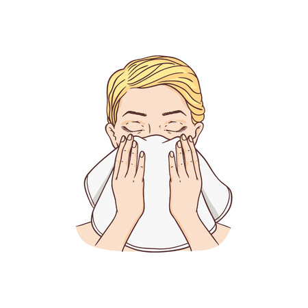 Vector young woman removing make-up washing face by towel. Face skincare treatment, cosmetic cleaning, spa products packaging design. Isolated illustration