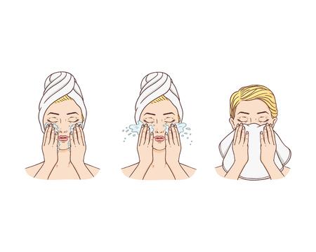 Vector giovane donna con i capelli avvolti in un asciugamano che rimuove il trucco lavando il viso e lo pulisce con un asciugamano. Trattamento per la cura della pelle del viso, design del packaging dei prodotti per la pulizia dei cosmetici. Illustrazione isolata Vettoriali