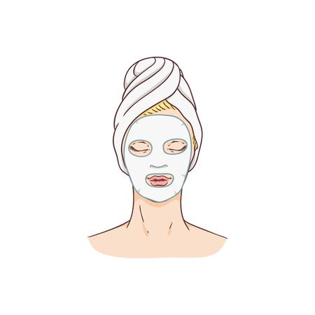 Femme de vecteur avec masque facial. Concept de traitement et de thérapie de la peau du visage. Jeune femme avec une serviette dans un salon spa. Conception d'emballages de produits de soins de la peau cosmétiques. Vecteurs