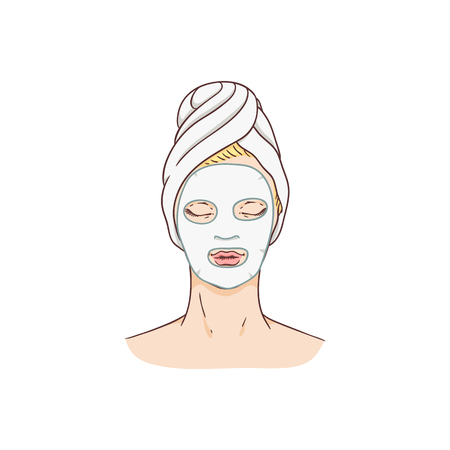Vector woman with facial mask. Face skin treatment and therapy concept. Young woman with towel in spa salon. Cosmetic skincare product packaging design.