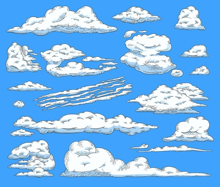 Vector abstract white clouds sketch icon set on blue sky. Natural phenomenon symbol, handdrawn sign of cloud computing technologies, weather and climate forecast. Isolated illustration