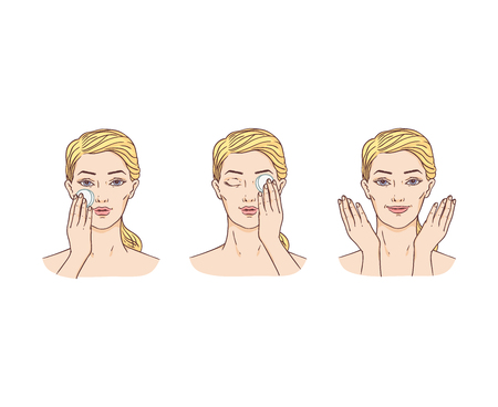 Vector young woman with towel on hairs removing make-up from face with spoonge. Face skincare treatment, cosmetic cleaning, spa products packaging design. Isolated illustration 向量圖像