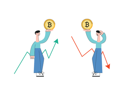 Vector smiling and sad men holding bitcoin golden coin on background of increasing and decreasing trend on graph. Cryptocurrency investment and digital commerce concept. Virtual money illustration.
