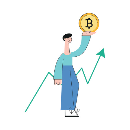 Vector smiling man holding bitcoin golden coin on background of increasing trend on graph. Cryptocurrency investment and digital commerce concept. Virtual money. Isolated illustration.