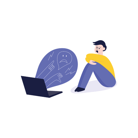 Vector concept of bullying and teenage harassment. Lonely teen boy sitting legs crossed with sad depressed face with negative evil messages from laptop laughing, humiliating.  イラスト・ベクター素材