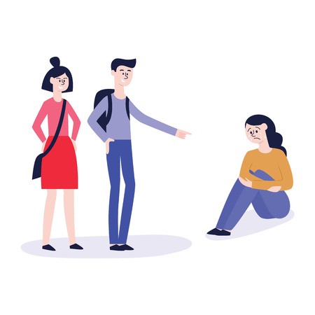 Vector concept of bullying and teenage harassment. Lonely teen girl victim sitting holding knees with sad depressed face with children laughing and pointing to him.