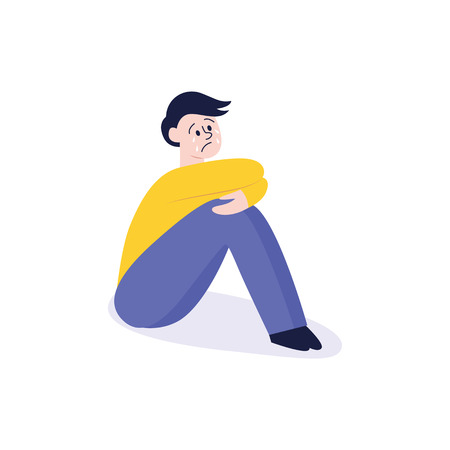 Vector concept of bullying and teenage harassment. Lonely teen man victim sitting holding knees with sad depressed face. School college violence concept.