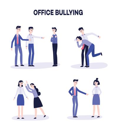 Vektor-Büro-Mobbing- und Belästigungskonzept-Set. Wütende männliche, weibliche Kollegen, die darauf hinweisen, dass sie sich über traurige deprimierte, einsame Mitarbeiter lustig machen. Unternehmensdemütigung und Gewalt. Vektorgrafik