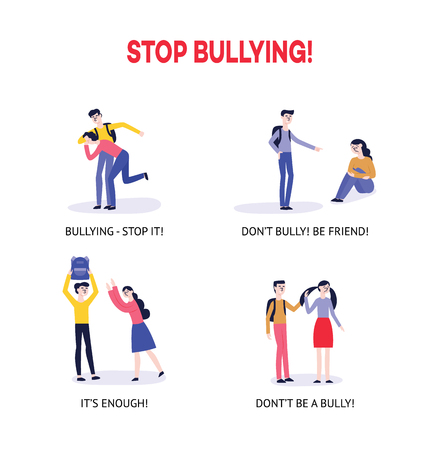 Vector bullying and teenage harassment concept set. Lonely boys, girls victim sitting holding knees while kids viciously laughing pointing to them. Girl taking away girl's ball, backpack kids fighing