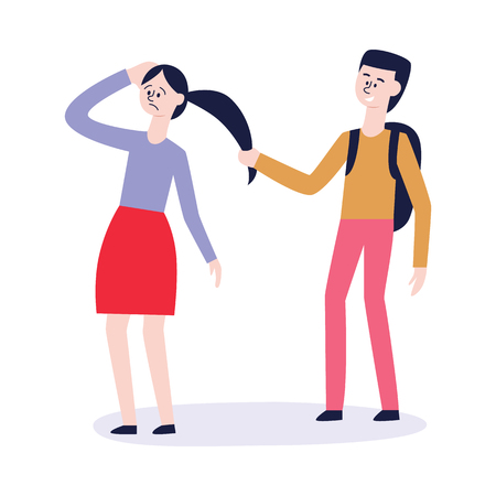 Vector concept of bullying and teenage harassment. Lonely teen girl victim with sad painful face has hair pulled by angry classmate. School, college violence.