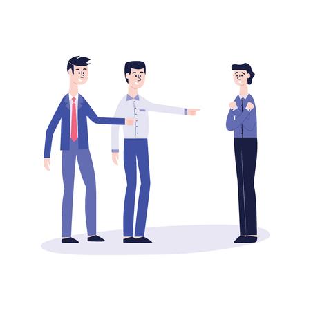 Vektor-Büro-Mobbing- und Belästigungskonzept mit wütenden männlichen Kollegen, die darauf hinweisen, sich über traurigen depressiven einsamen Mitarbeiter lustig zu machen. Unternehmensdemütigung und Gewalt.