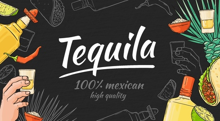 Tequila hand drawn background with mexican taco and pepper, bottle and shot, lime and agave. Tequila template with text and lettering. Vector illustration on a black background in sketch style.