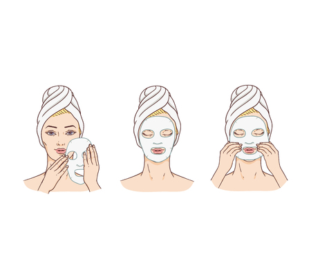 Vector woman applying facial mask stages set. Face skin treatment and therapy concept. Young woman with towel and spa salon. Cosmetic skincare product packaging design.