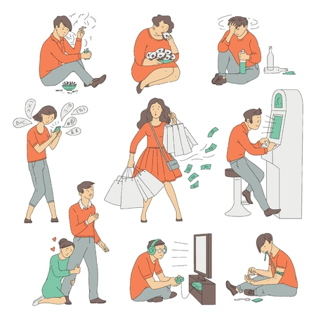 Vector people with different addictions set. Cocaine and nicotine addicts, junkie and smoker, gambling man, obese woman with bulimia, gluttony, internet addicted girl with phone, alcoholic male