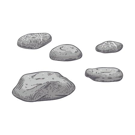 Conjunto de ilustración de vector de guijarros de mar grises dispersos en estilo boceto aislado sobre fondo blanco - piedras de playa con textura dibujadas a mano para spa y masaje o diseño natural. Ilustración de vector