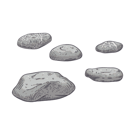 Vector illustration set of grey scattered sea pebbles in sketch style isolated on white background - hand drawn textured beach stones for spa and massage or natural design.