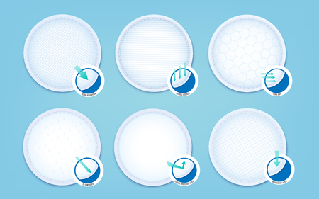 A set of cotton pads for soft hypoallergenic absorption liners and ultra sanitary napkins. 3d realistic vector illustration on blue background.