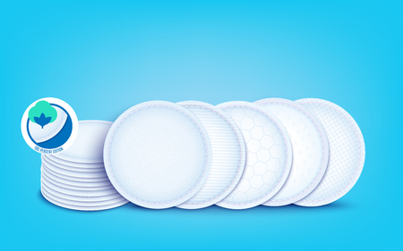 Set of diffrent cotton layers for cotton pads and disks, nursing pad and sanitary napkin. Hypoallergenic and absorption soft liners, 3d realistic vector illustration on blue background. Ilustração
