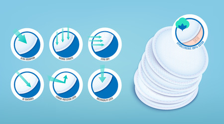 Hypoallergenic soft cotton pads and disks facial cleansing with ultra absorption and natural extracts, 3D contour breathability protective layer. 3d realistic vector illustration on blue background. 写真素材 - 124419759